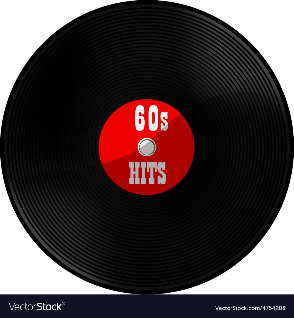 Vinyl record 60s hits vector | Price: 1 Credit (USD $1)