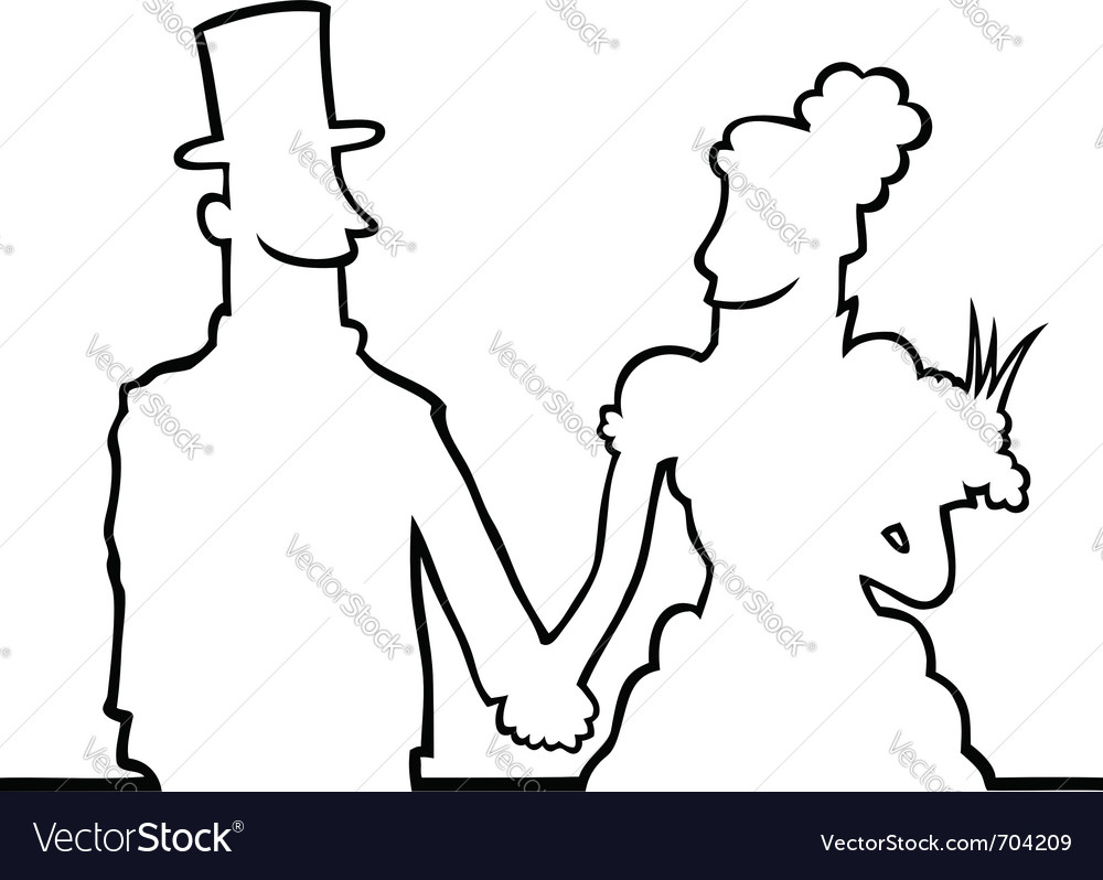 Bride and groom looking at eachother vector | Price: 1 Credit (USD $1)