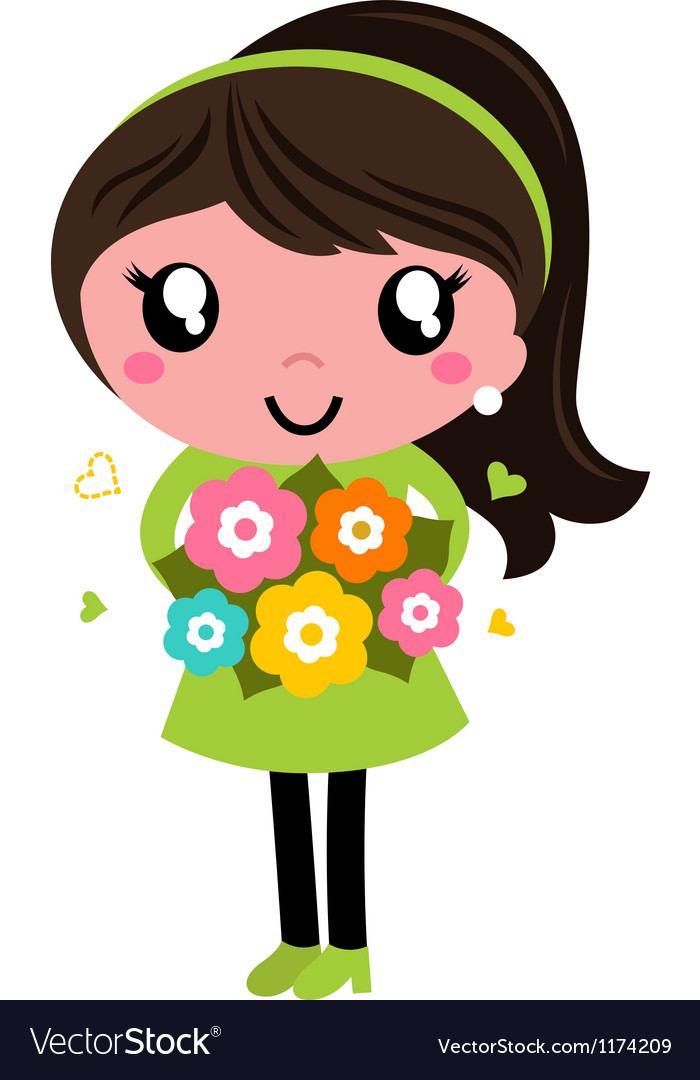 Cute female with flowers isolated on white vector | Price: 1 Credit (USD $1)