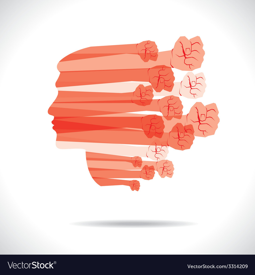 Group of hand show unity cover the men face vector | Price: 1 Credit (USD $1)