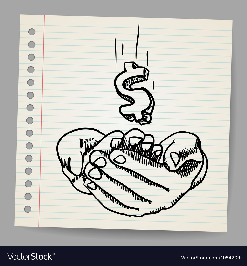 Hand with dollar symbol vector