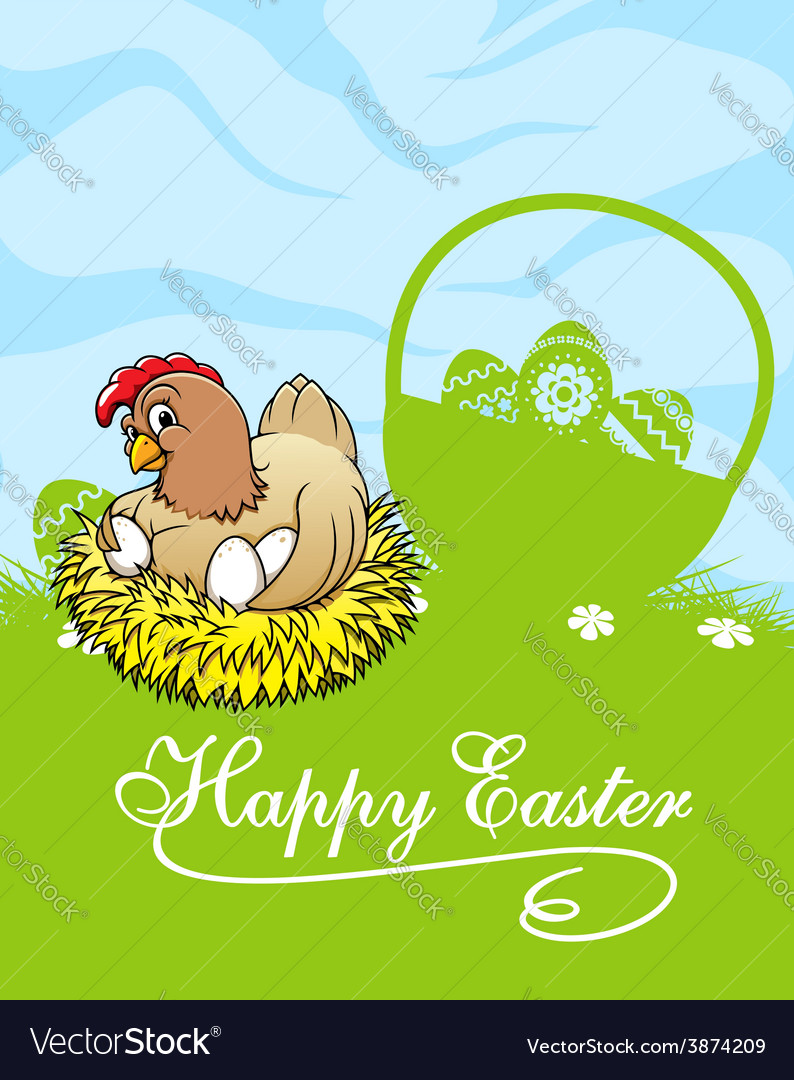 Happy easter card with hen and basket with easter vector | Price: 1 Credit (USD $1)