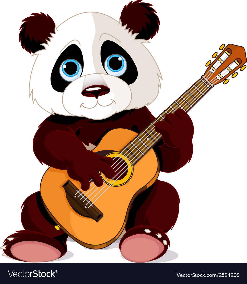Panda guitarist vector | Price: 1 Credit (USD $1)