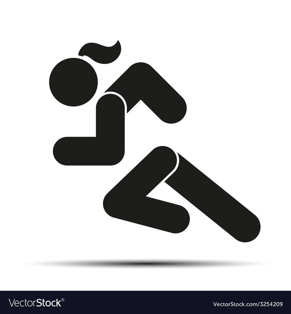 Running woman simple symbol of run isolated on a vector | Price: 1 Credit (USD $1)