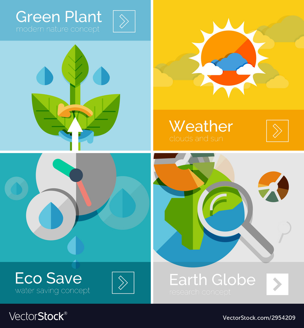 Set of eco nature flat design concepts banners vector | Price: 1 Credit (USD $1)