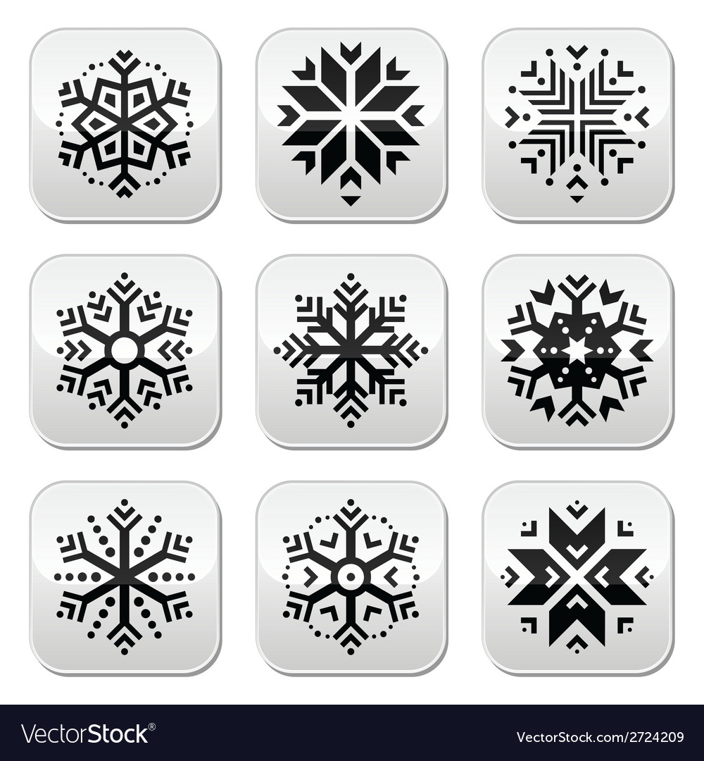 Snowflakes buttons set on black and white vector | Price: 1 Credit (USD $1)