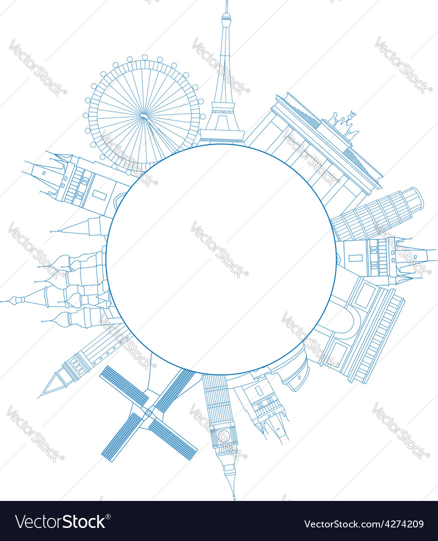 Travel famous monuments of europe vector | Price: 1 Credit (USD $1)
