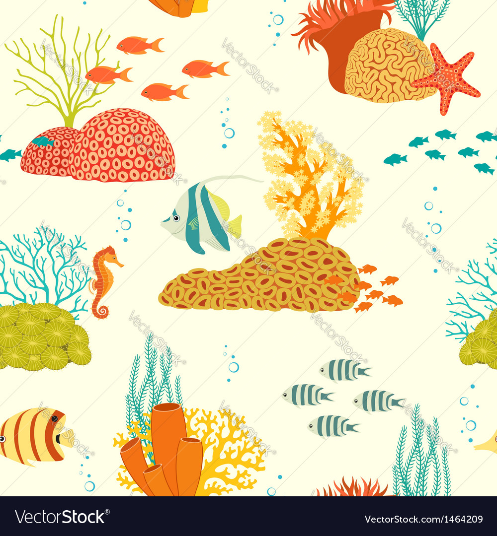 Underwater life pattern on light background vector | Price: 1 Credit (USD $1)