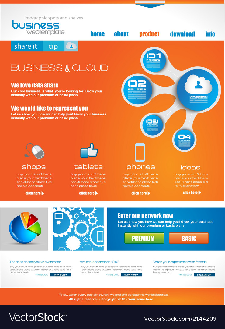 Website template for corporate business and cloud vector | Price: 1 Credit (USD $1)