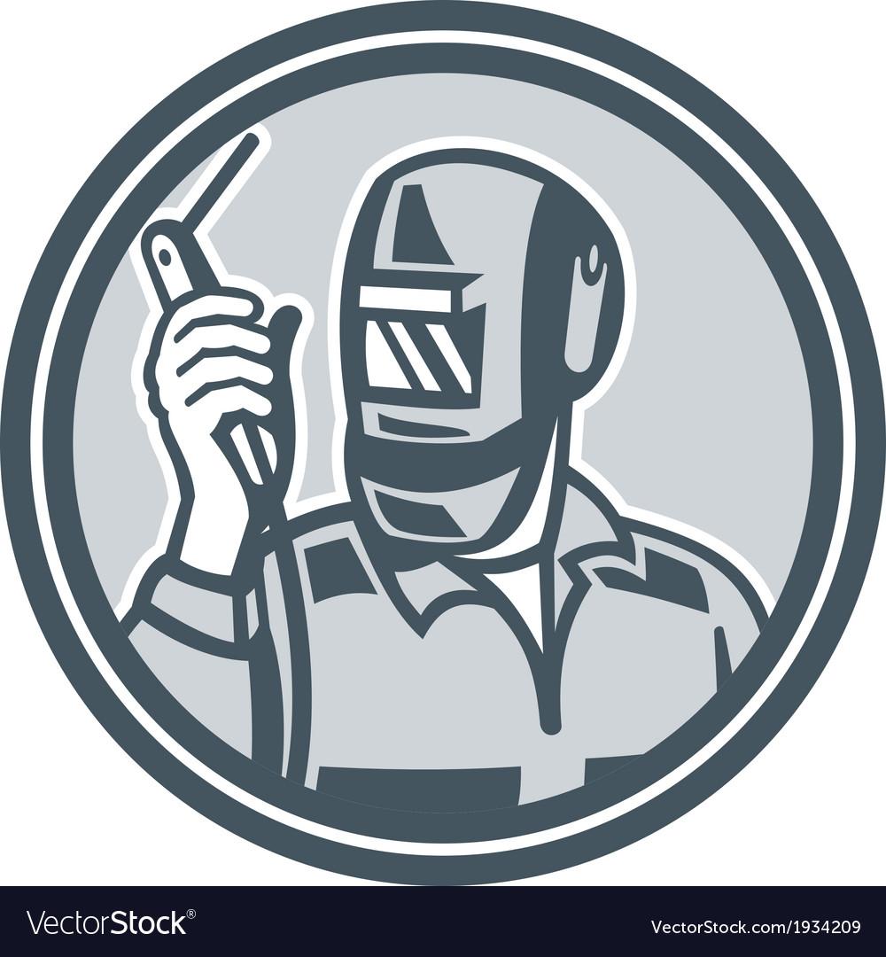 Welder fabricator holding welding torch retro vector | Price: 1 Credit (USD $1)