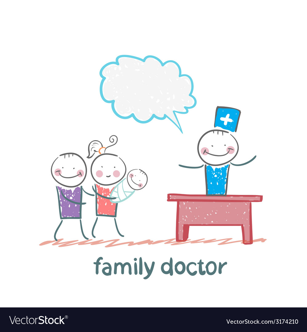 Family doctor treats the mother father and child vector | Price: 1 Credit (USD $1)