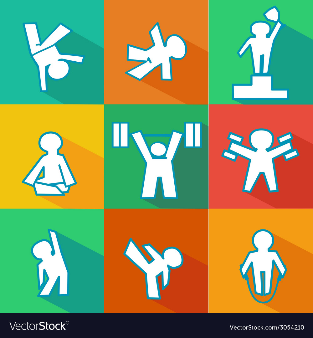 Flat fitness icons vector | Price: 1 Credit (USD $1)
