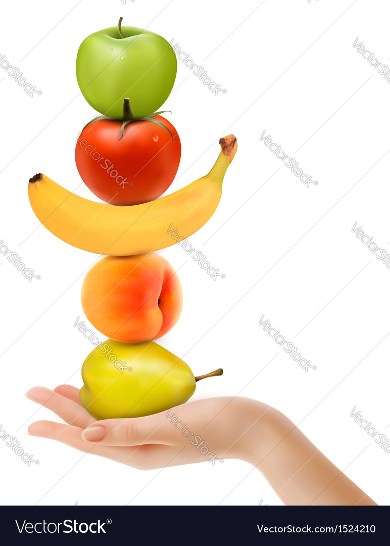 Group of fresh fruit with hand dieting concept vector | Price: 1 Credit (USD $1)