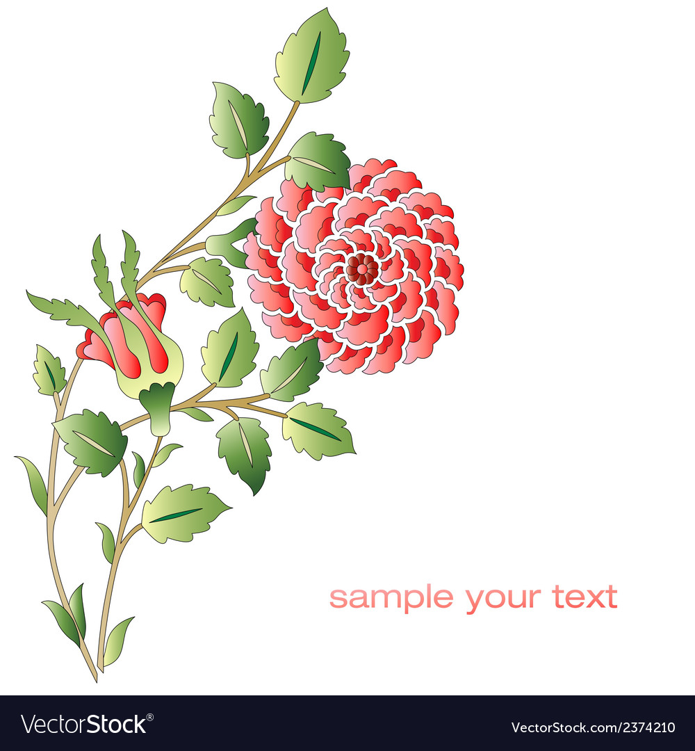 Ottoman red roses flower series vector | Price: 1 Credit (USD $1)