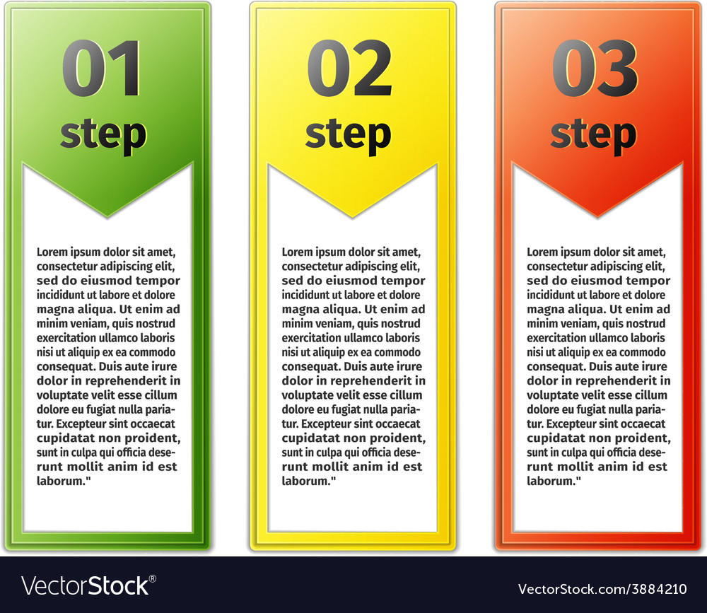 Progress icons for three steps vector | Price: 1 Credit (USD $1)