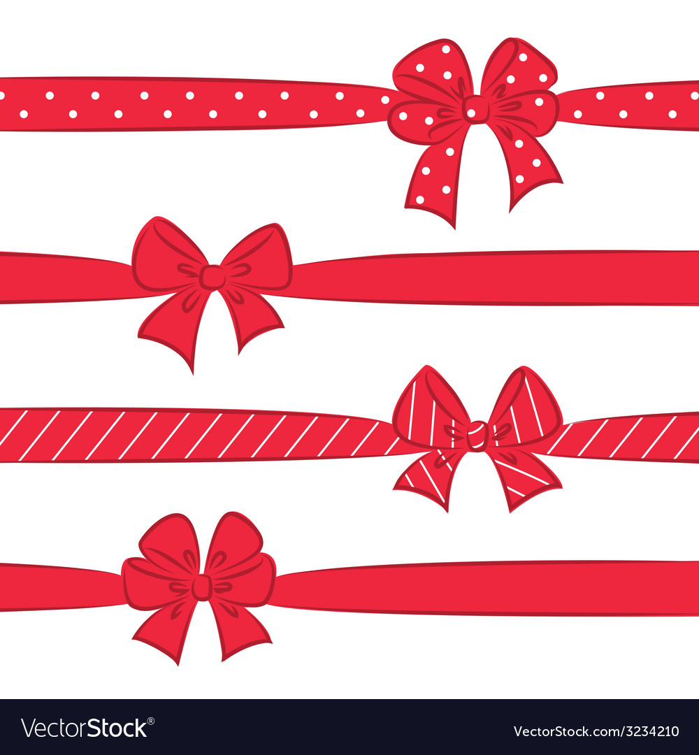 Red bows with ribbons vector | Price: 1 Credit (USD $1)
