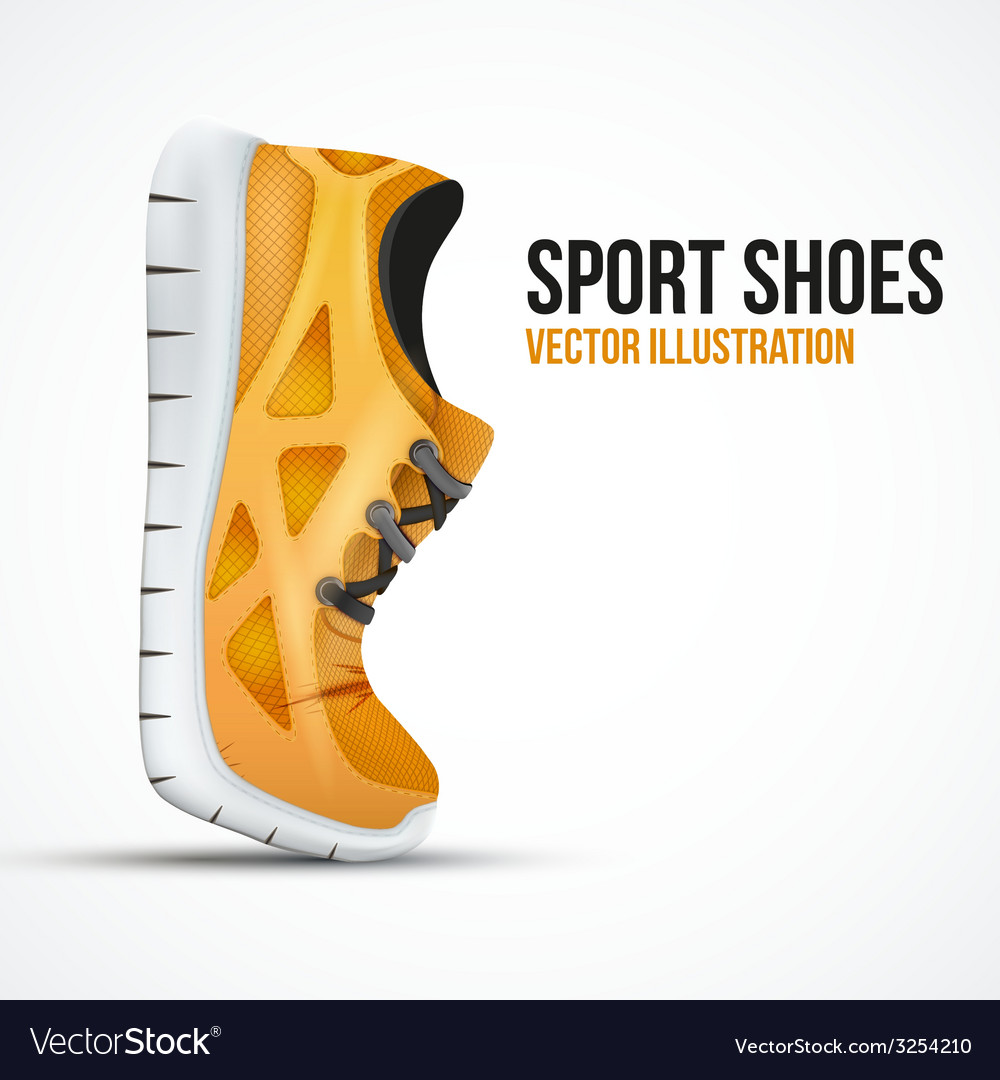 Running curved orange shoes bright sport sneakers vector | Price: 1 Credit (USD $1)