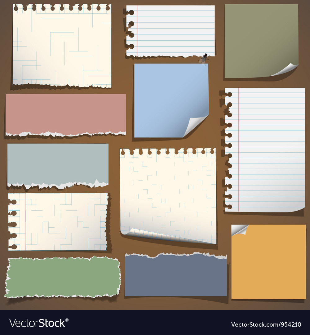 Various notes paper vector | Price: 1 Credit (USD $1)