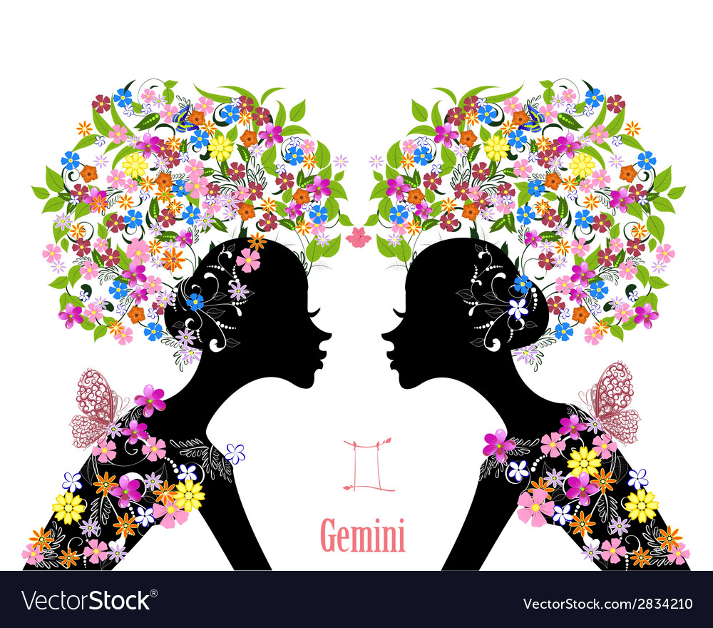 Zodiac sign gemini fashion girl vector | Price: 1 Credit (USD $1)