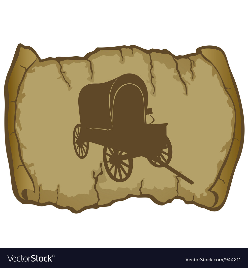 An old wagon and parchment vector | Price: 1 Credit (USD $1)