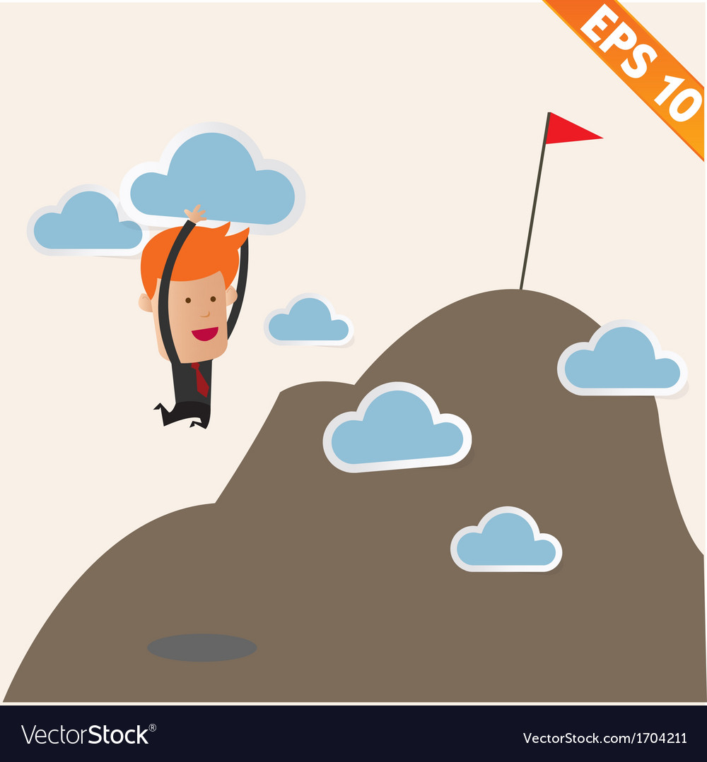 Business man carry cloud to the top - - eps1 vector | Price: 1 Credit (USD $1)