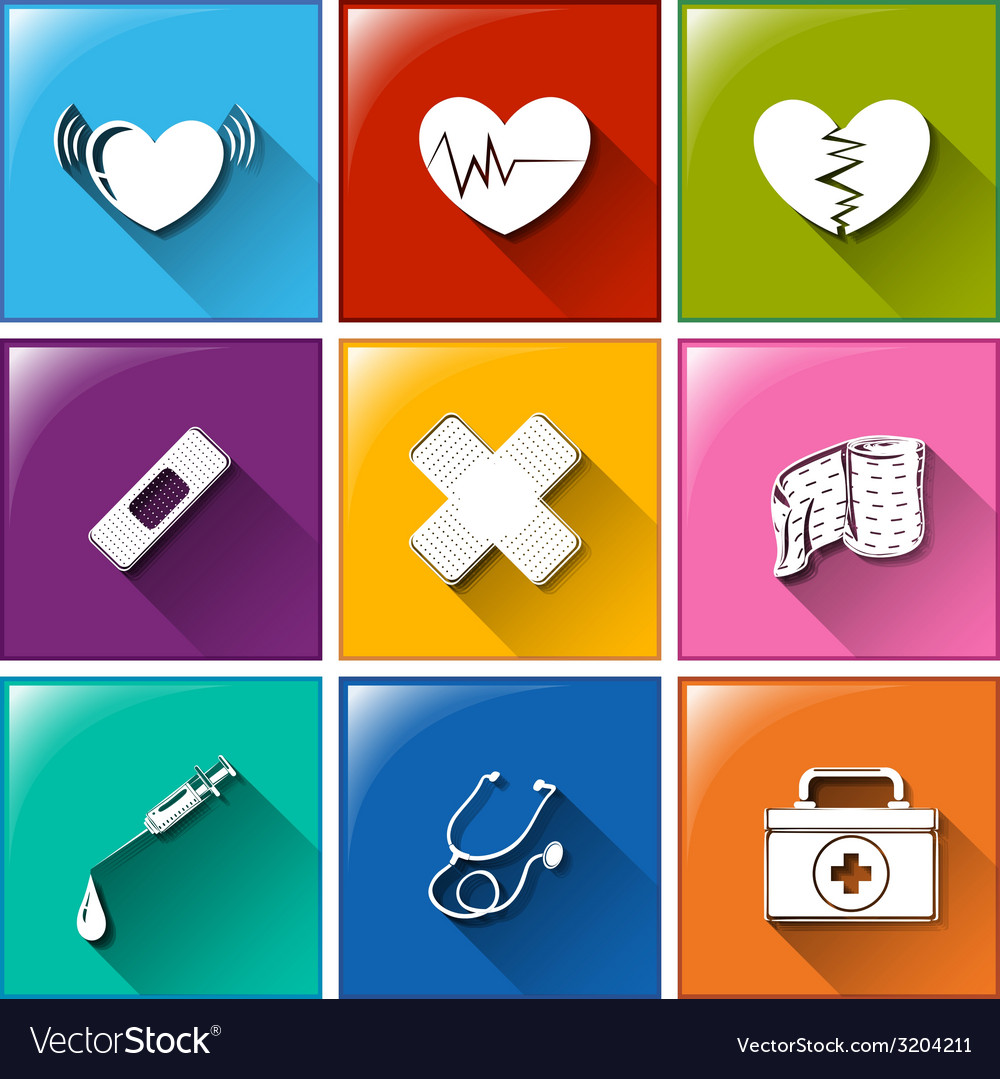Buttons with the different medical materials vector | Price: 1 Credit (USD $1)
