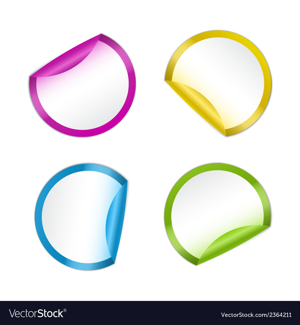 Colorful stickers in four colors vector | Price: 1 Credit (USD $1)