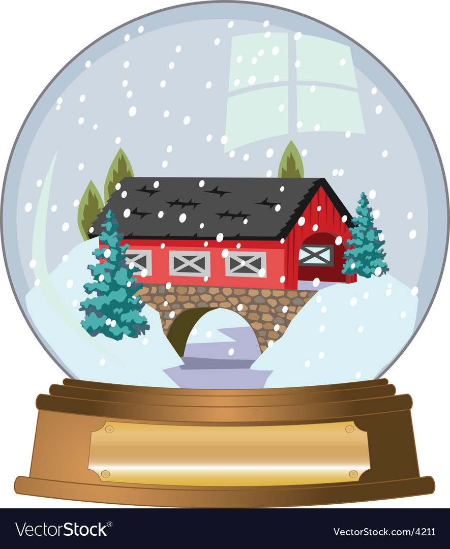 Covered bridge snow globe vector | Price: 3 Credit (USD $3)