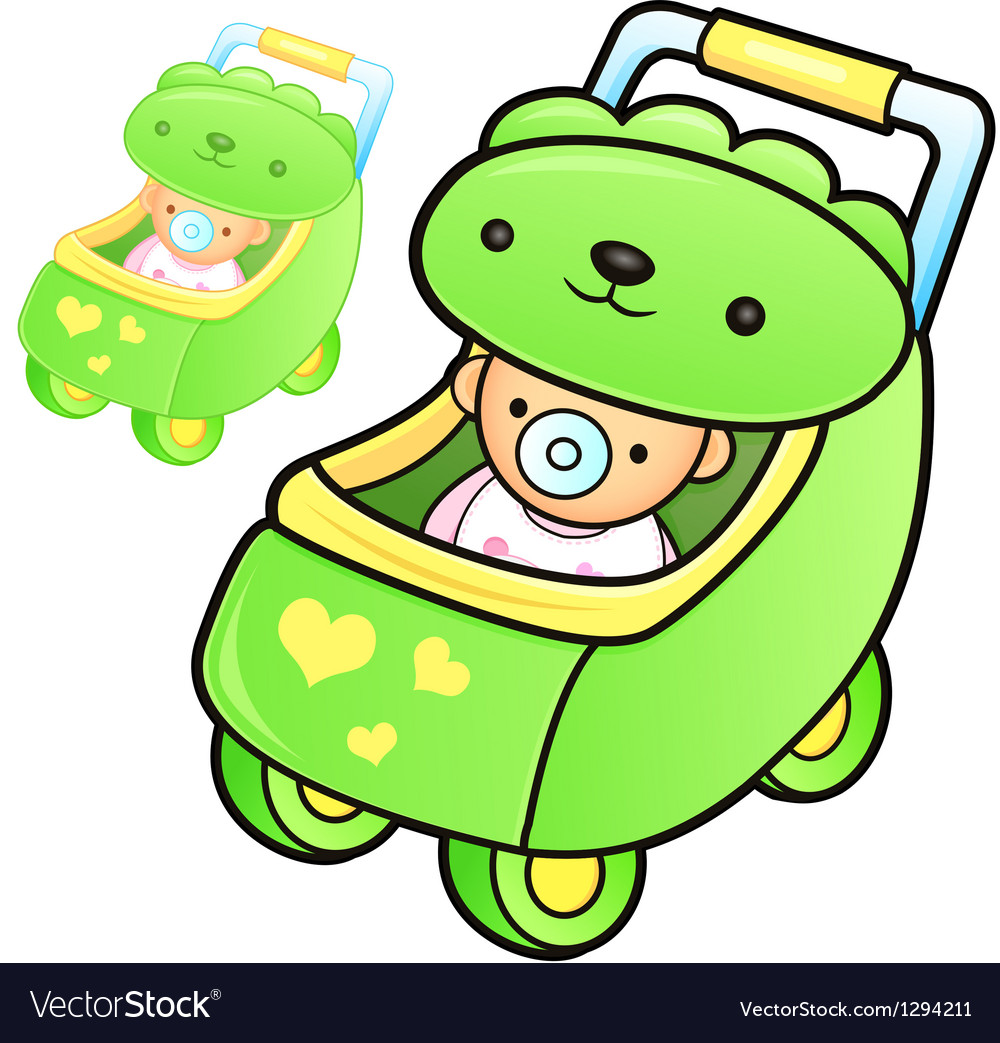 Different styles of baby carriage sets vector | Price: 1 Credit (USD $1)