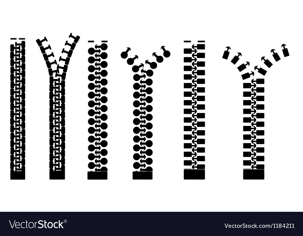 Different types of zippers vector | Price: 1 Credit (USD $1)