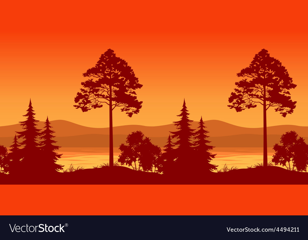 Seamless landscape trees on bank of mountain lake vector | Price: 1 Credit (USD $1)