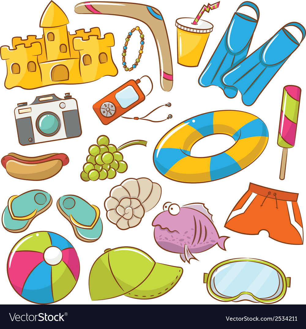 Summer beach icons set vector | Price: 1 Credit (USD $1)