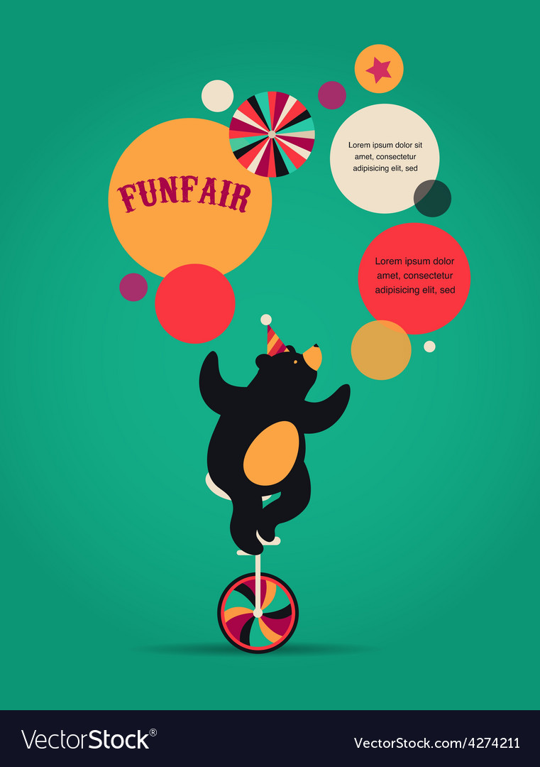 Vintage circus poster background with bear fun vector | Price: 1 Credit (USD $1)