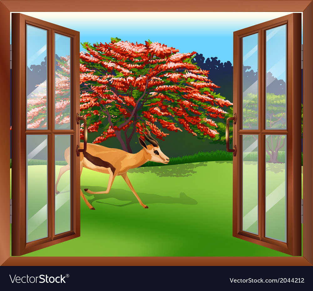 A window with a view of the deer outside vector | Price: 1 Credit (USD $1)