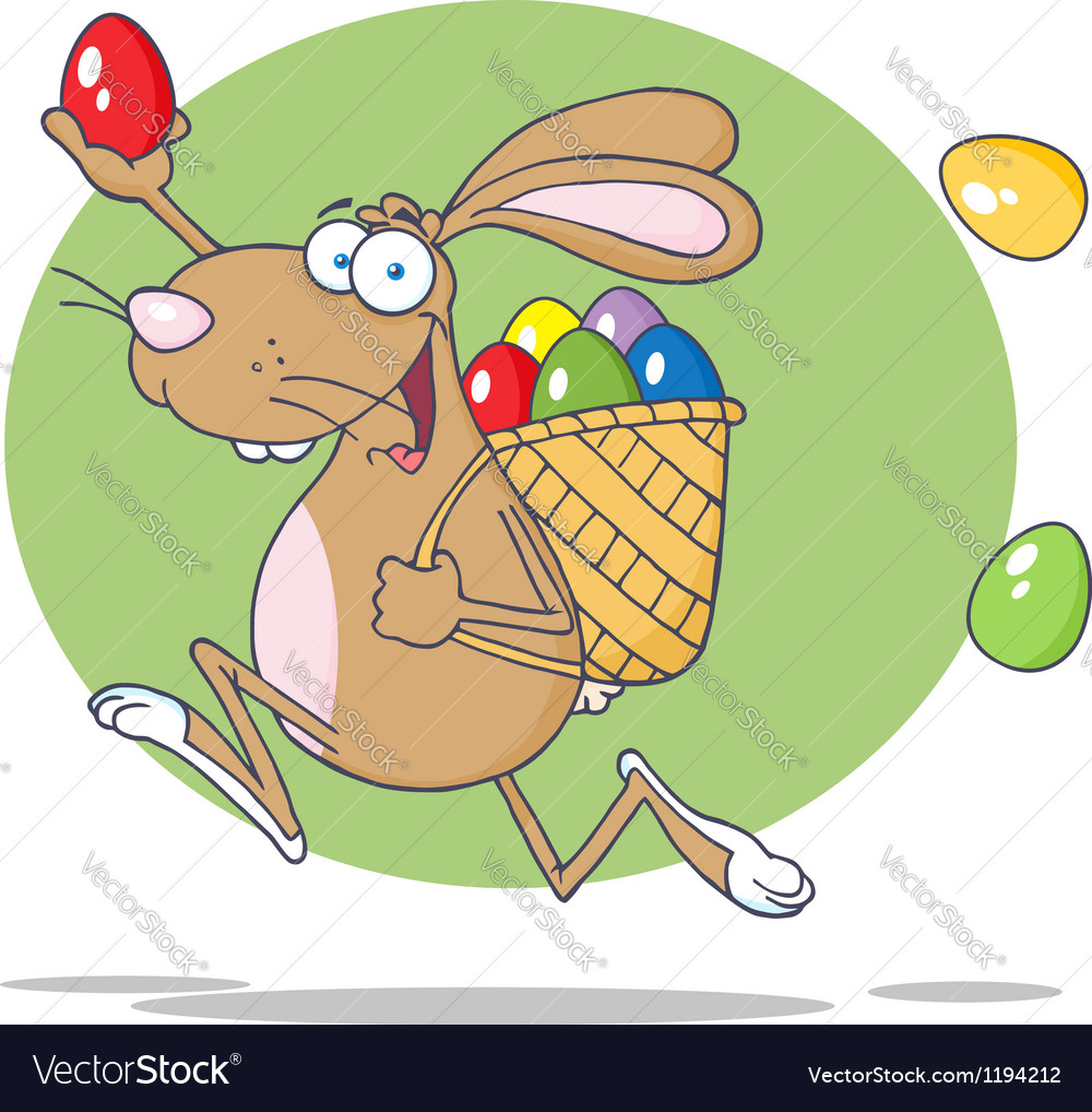 Brown easter rabbit running with a basket and egg vector | Price: 1 Credit (USD $1)