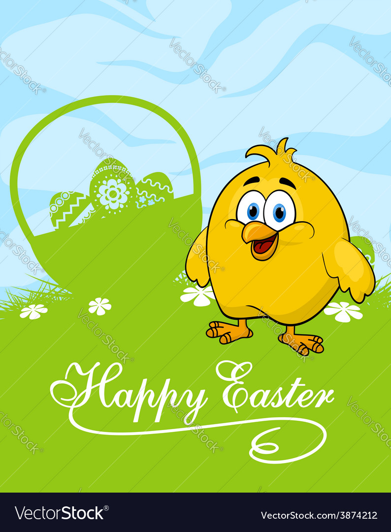 Easter card with decorated eggs and cute chicken vector | Price: 1 Credit (USD $1)
