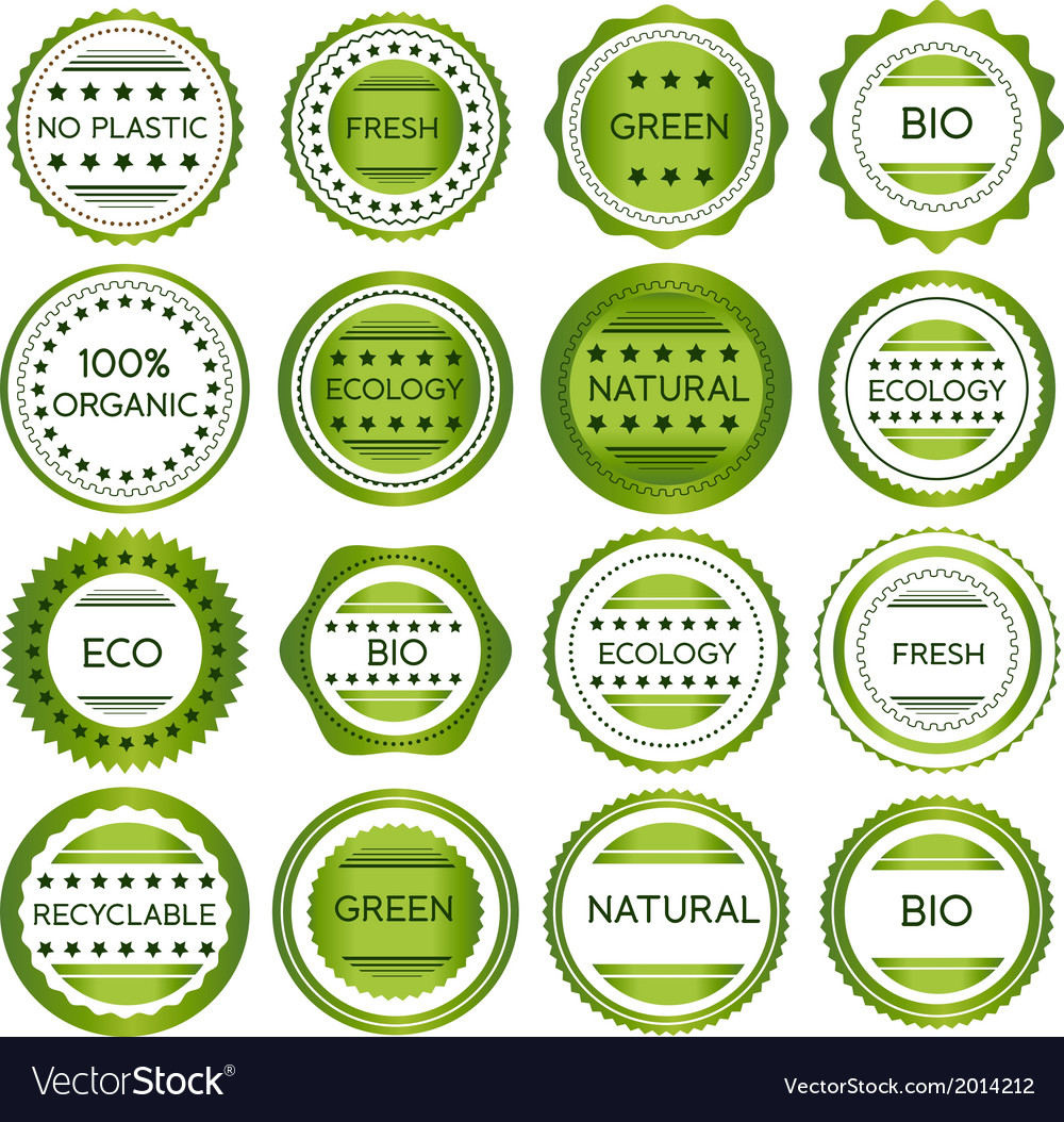 Green organic and bio labels vector | Price: 1 Credit (USD $1)