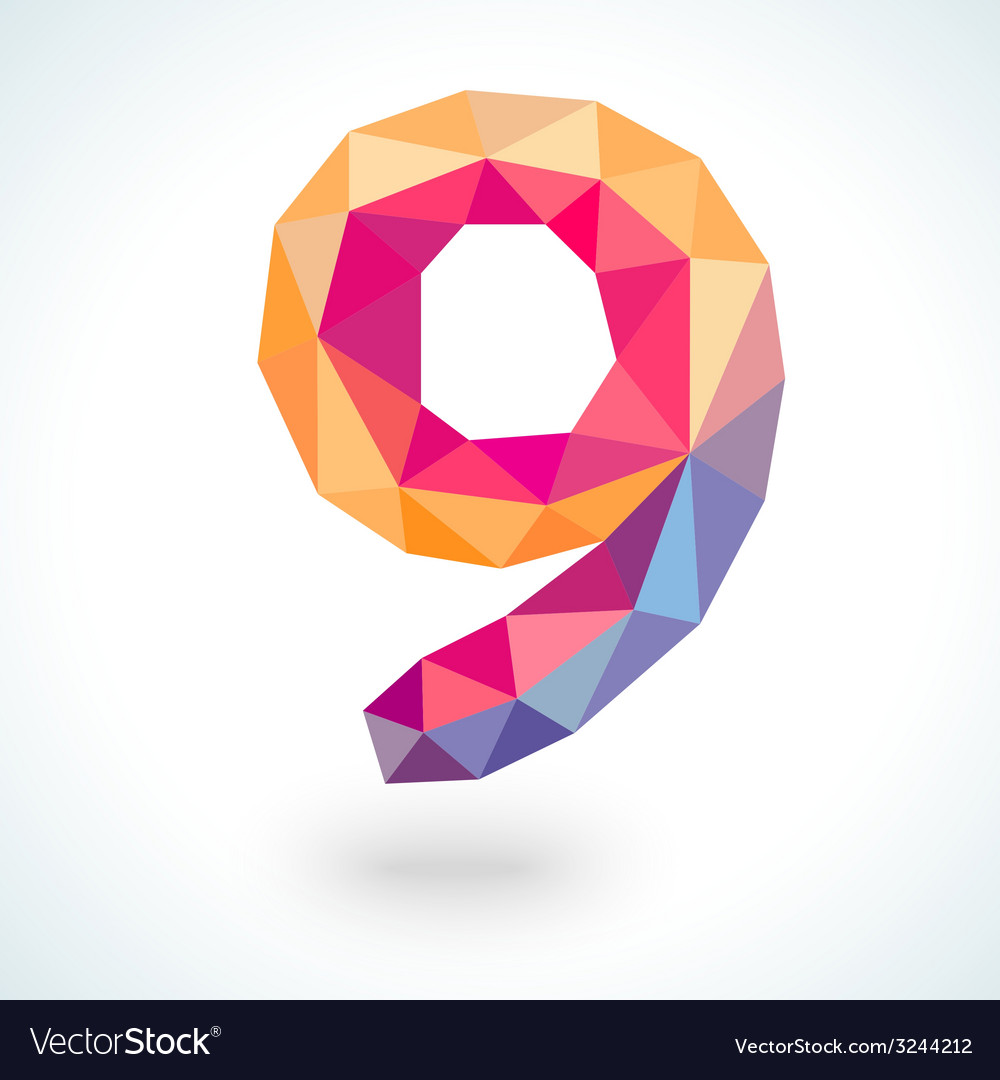 Number nine in modern polygonal crystal style vector | Price: 1 Credit (USD $1)