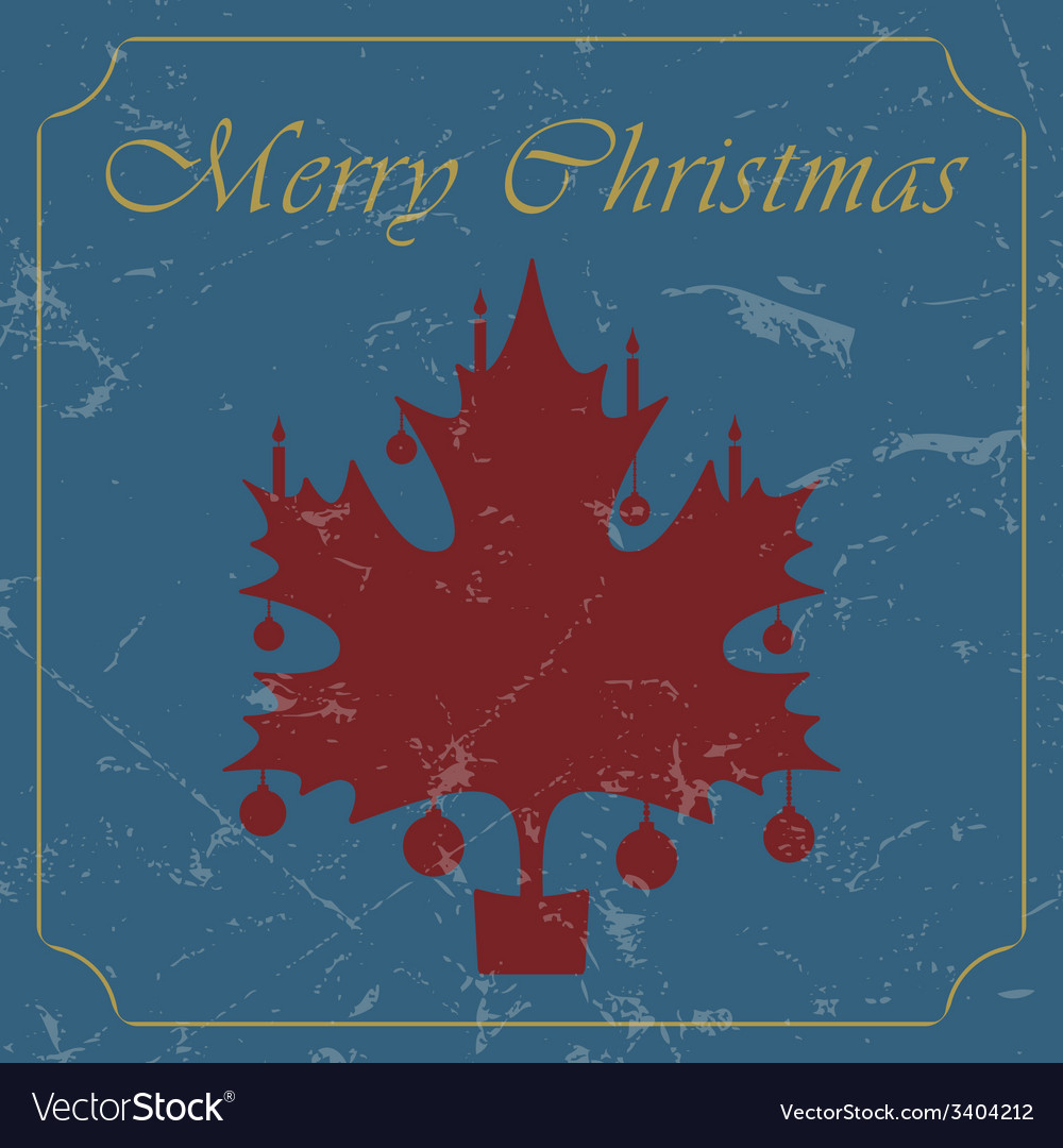 Retro - vintage red christmas maple leaf card vector | Price: 1 Credit (USD $1)