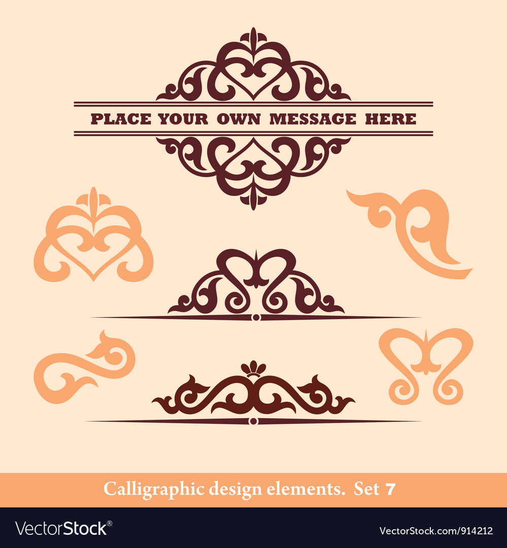 Set calligraphic design vector | Price: 1 Credit (USD $1)