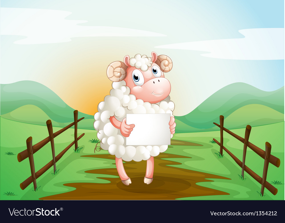 Sheep holding sign vector