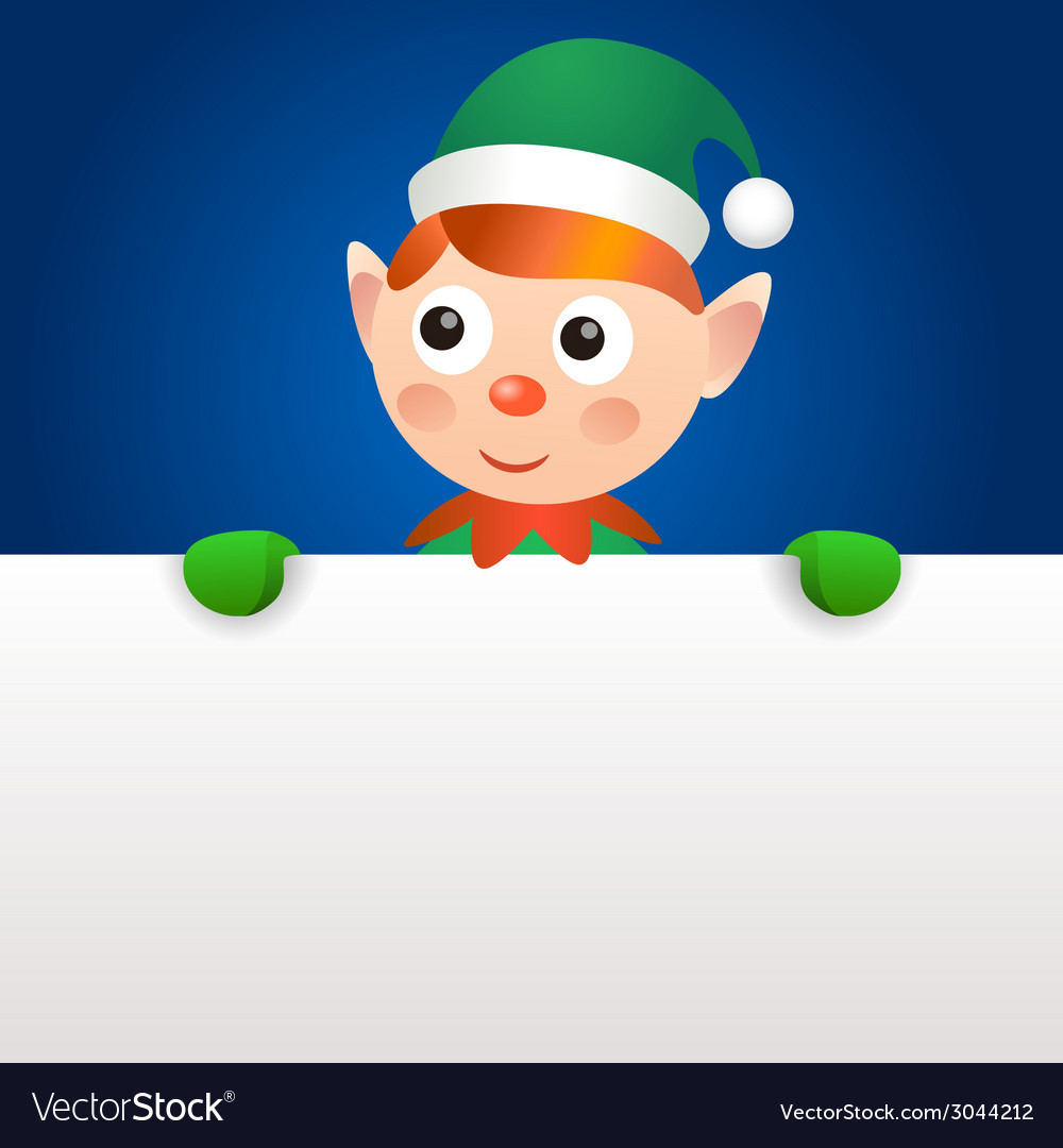 Smiling elf holding blank page vector | Price: 1 Credit (USD $1)