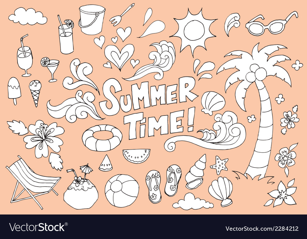 Summer fun hand drawn doodles sketch vector | Price: 1 Credit (USD $1)