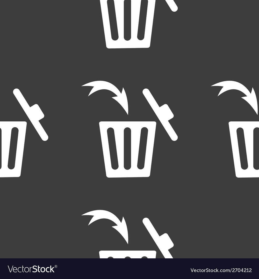 Trash bin web icon flat design seamless gray vector | Price: 1 Credit (USD $1)