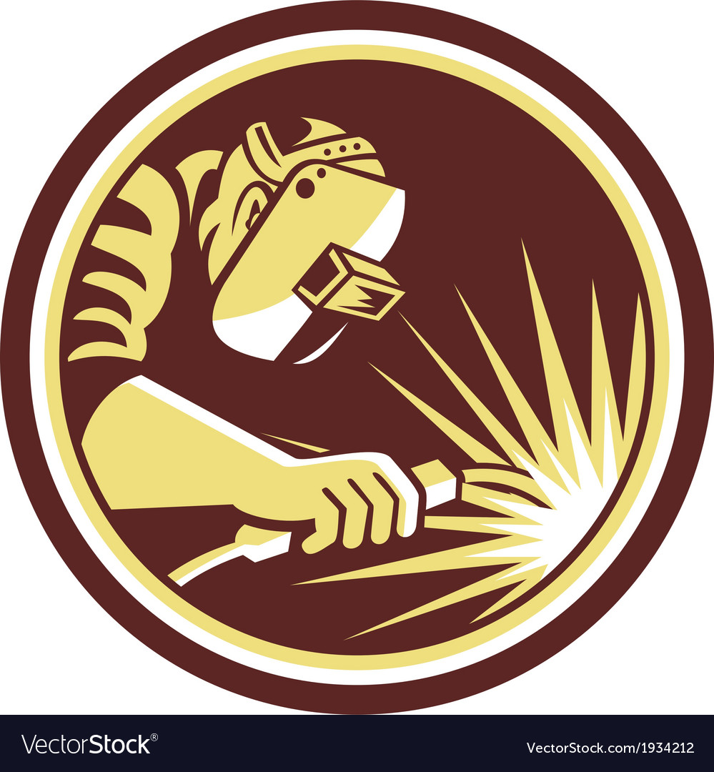 Welder fabricator welding torch circle retro vector | Price: 1 Credit (USD $1)