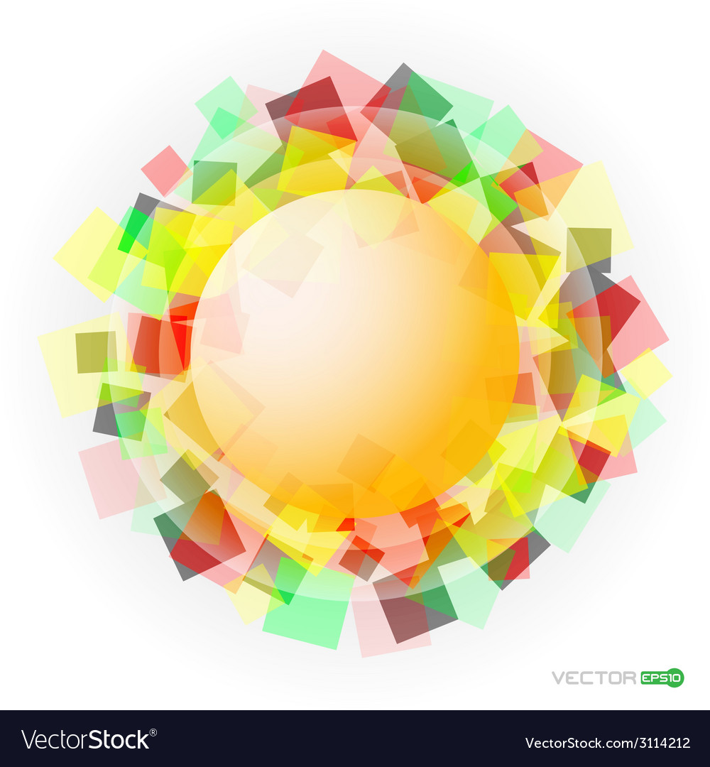 Yellow translucent sphere with colored squares vector | Price: 1 Credit (USD $1)