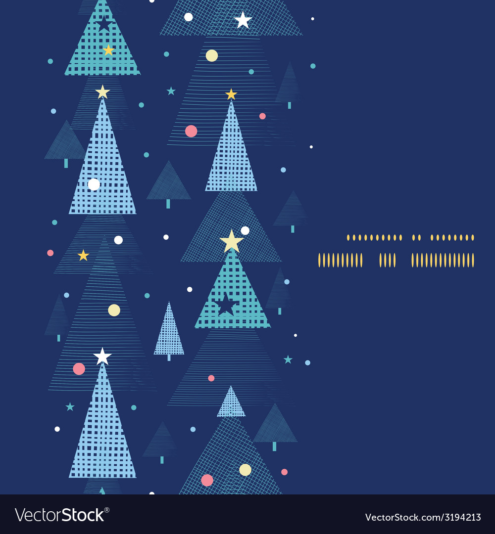 Abstract holiday christmas trees vertical frame vector | Price: 1 Credit (USD $1)