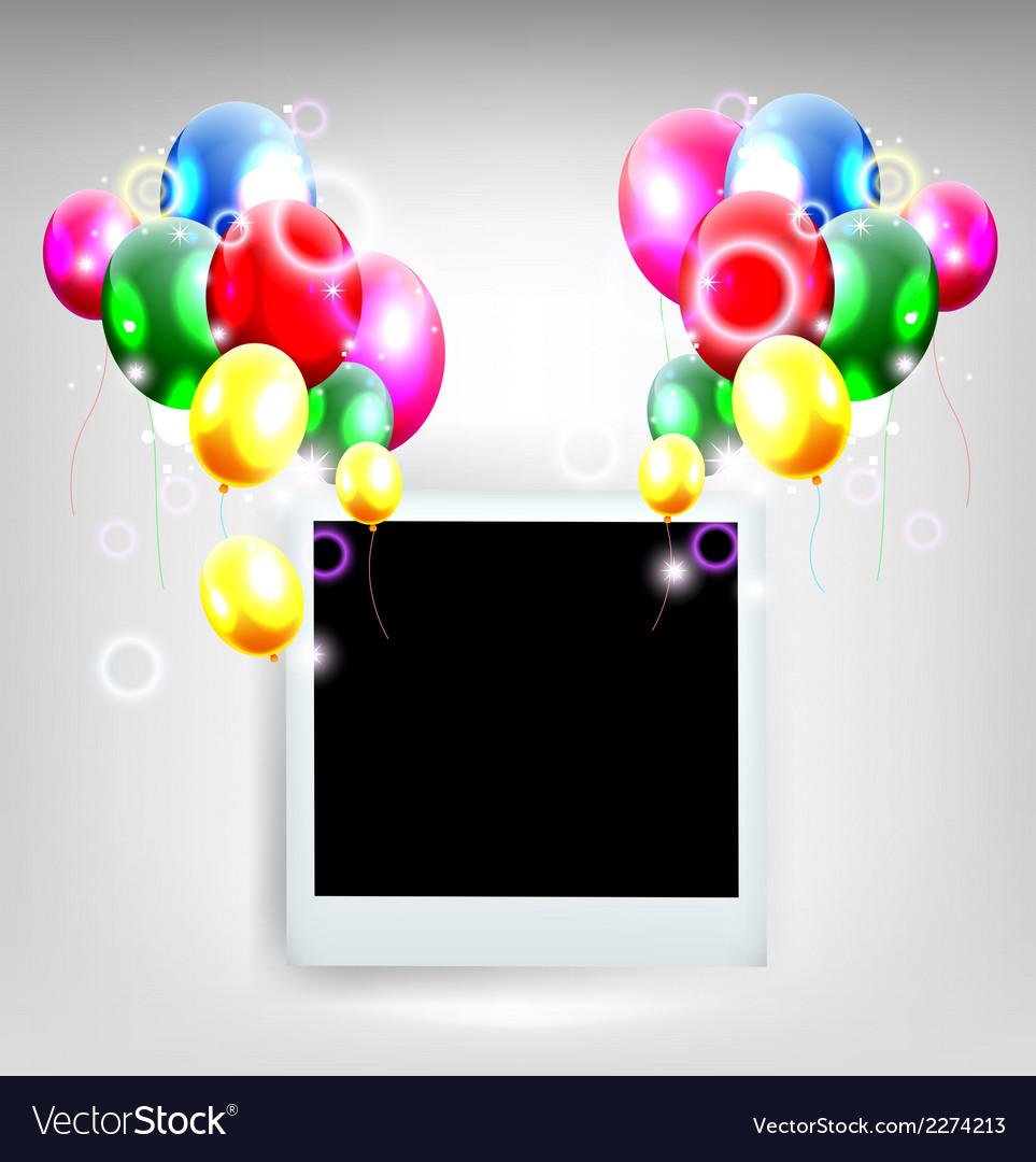 Balloons decoration for you design with film frame vector | Price: 1 Credit (USD $1)