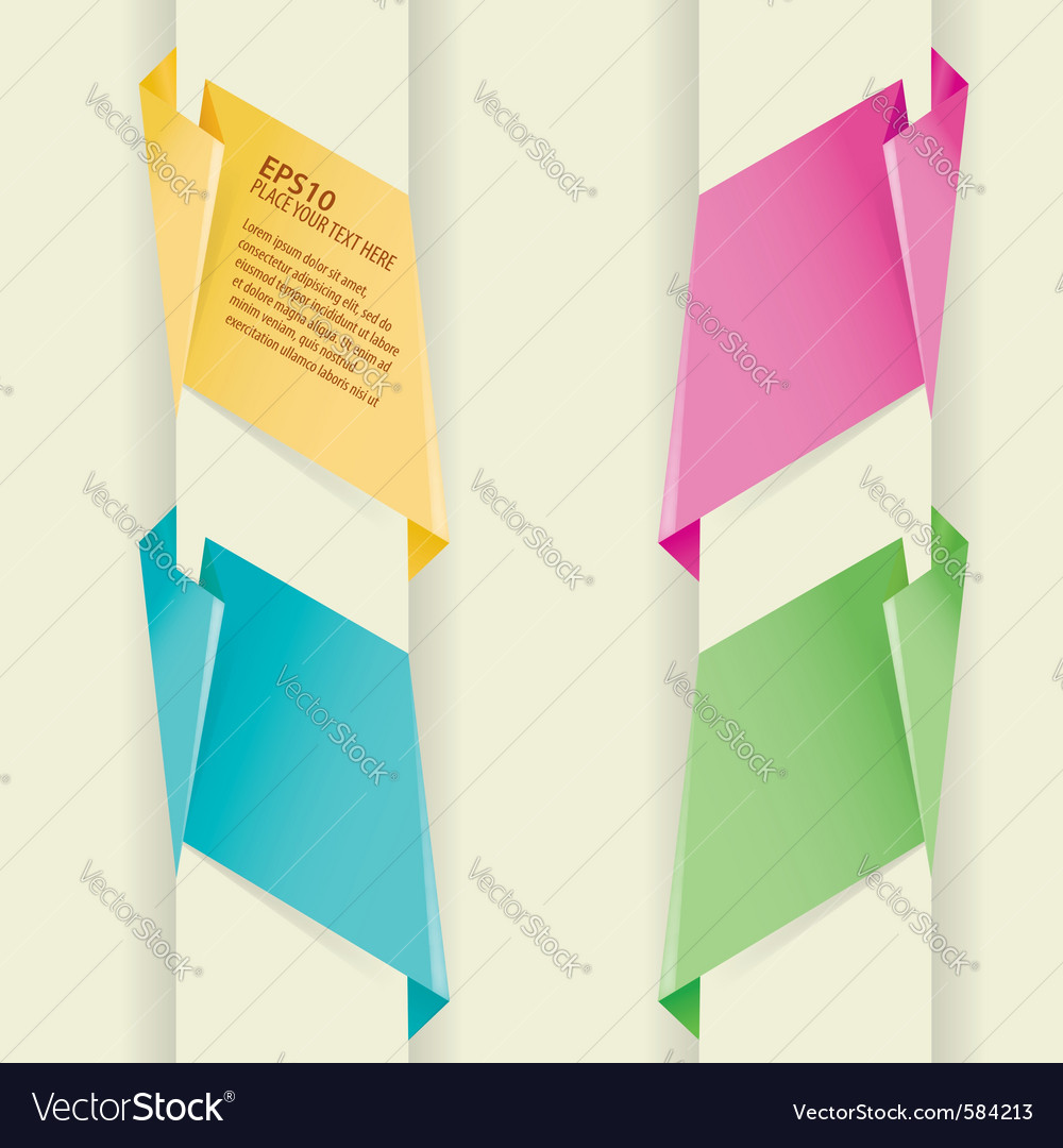 Collect paper origami banner element for design vector | Price: 1 Credit (USD $1)
