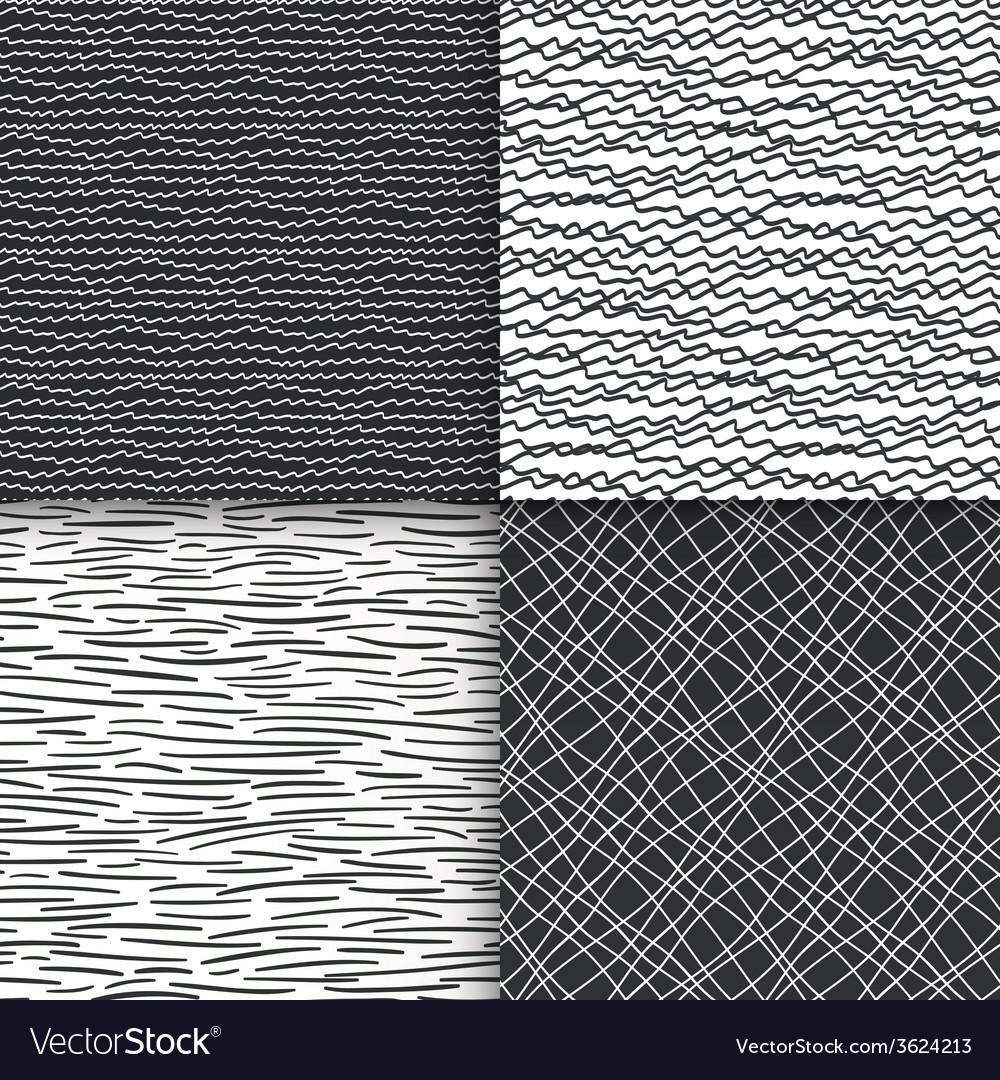 Geometric doodle seamless patterns set vector | Price: 1 Credit (USD $1)